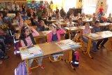 Pohled do třídy, kde je 47 žáků 1. 5. ročníku.
